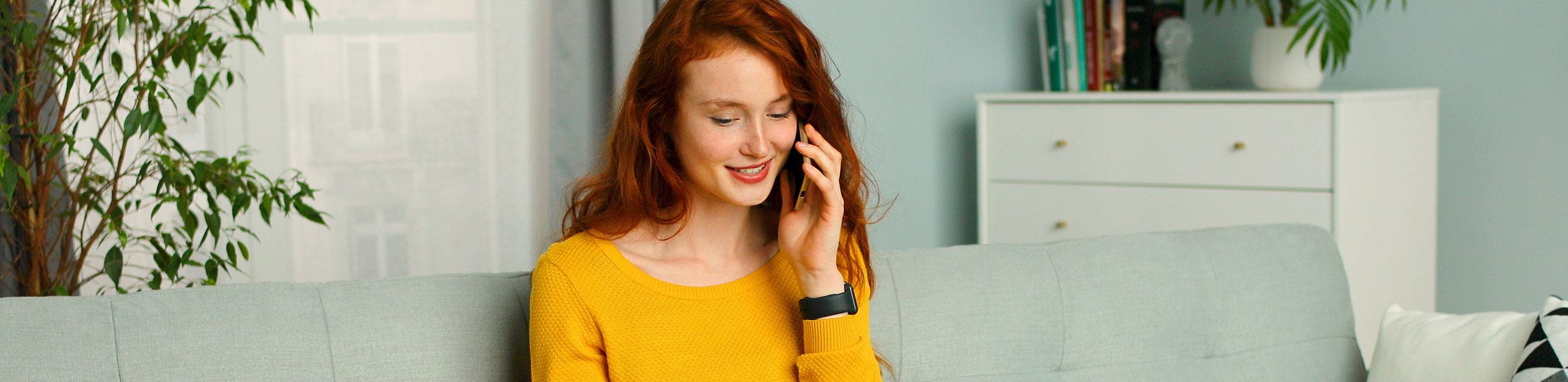 Woman answering phone call